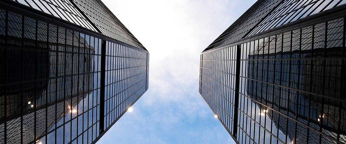 Two skyscrapers upward view